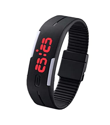 Amazon.com: HSW Ultra Thin LED Watch Bracelet Silicone Waterproof Digital Fashion Gym Running Sports Wrist Watches Band Strap Adjustable -Black: Cell Phones ...
