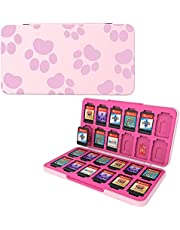 HEIYING Game Card Case for Nintendo Switch&Switch OLED&Switch Lite Game Card or Micro SD Memory Cards,Custom Pattern Switch Game Memory Card Storage with 24 Game Card Slots and 24 Micro SD Card Slots.(Pink Cat Paws)