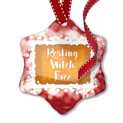 NEONBLOND Christmas Ornament Resting Witch Face Halloween Orange