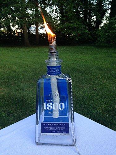 1800 Tequila Reposado - Tiki Torch - Tequila Reserva 1800 Silver Bottle - Oil Lamp - Outdoor Lighting - Garden Decor - Fiesta Decor