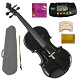 GRACE 3/4 Size Acoustic Black Violin with Case and Bow+Merano MT60 Metro Tuner+Extra E String+2 Bridges+Rosin