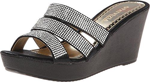PATRIZIA Women's Cinderella Wedge Sandal,Black Manmade,EU 36 M -