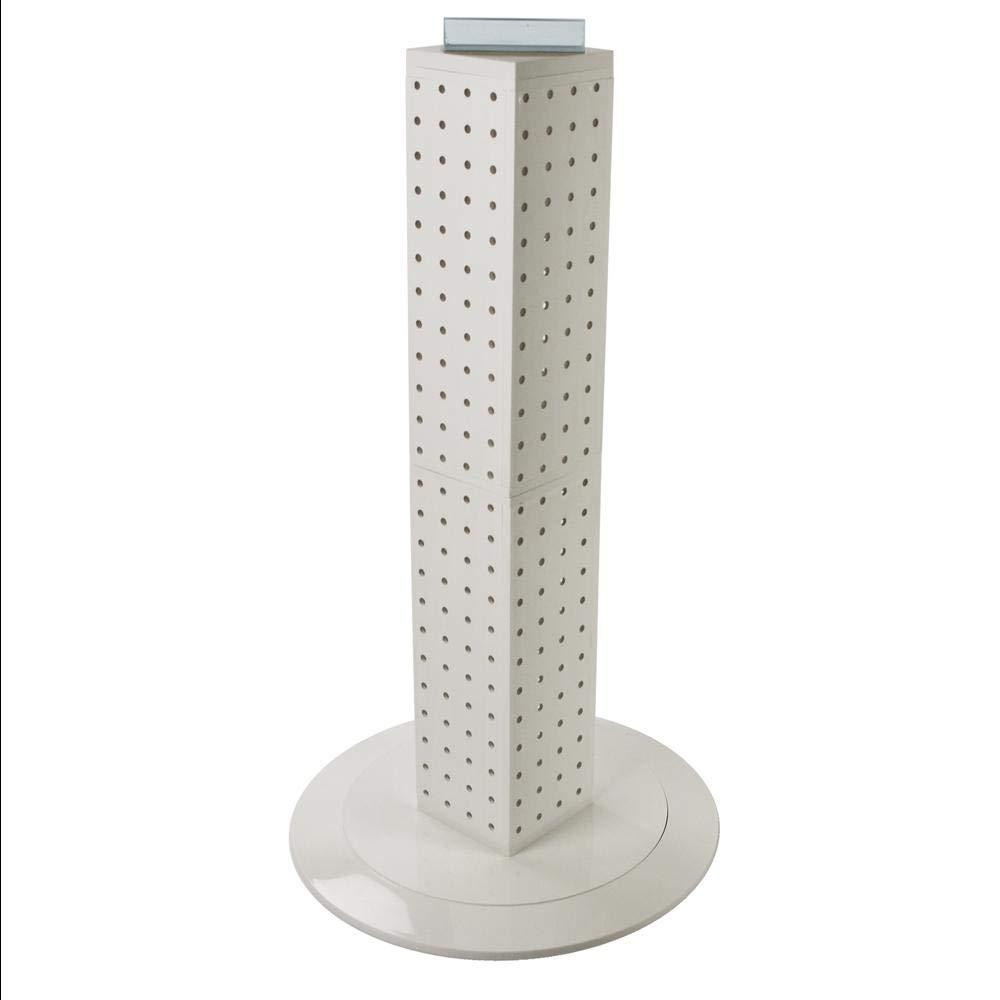 White Pegboard Interlocking Counter Unit 4''x4''x25'' on14.5'' Diameter Base