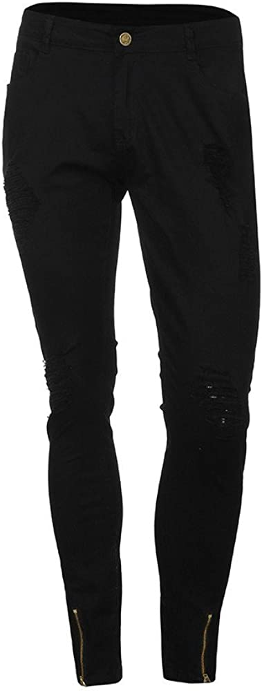 Kword Pantaloni Uomo Elegante Biker Denim Jeans con Cerniera Pantaloni Jeans Stretch in Denim Slim Fit Skinny Pantaloni Distressed Rip Jeans Uomo Elasticizzati Pantaloni Denim Stretch Regular Fit