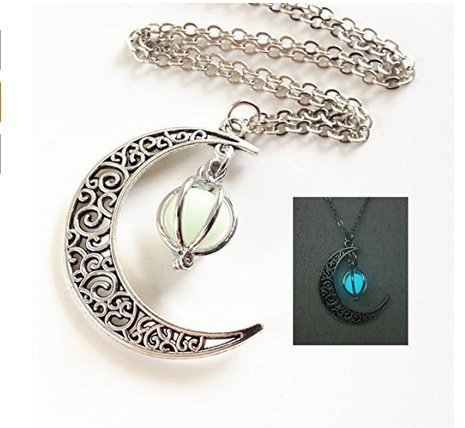 Glowing Crescent Moon Necklace,glowing Orb Necklace,glow in the Dark Necklace,twilight Necklace,halloween Jewelry,halloween Gift]()