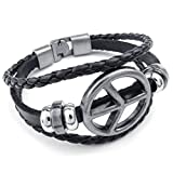 Beydodo Gold Plated Leather Bracelet Mens Peace Symbol Multi Strand Adjustable Bangle Bracelet