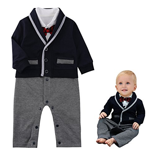 Baby Boy Romper Suits Bow Tie Baptism Wedding Tuxedo Jumpsuit Gentleman Onesie (Baby Santa Outfit For Boy)