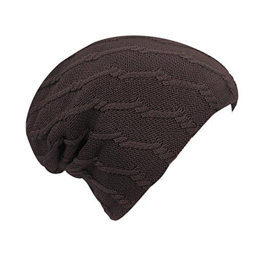 d Soft Beanie Cap Winter Lattice Knittng Snow Slouchy Head Hats (Coffee (Bone chain)) (Coffee Lattice)