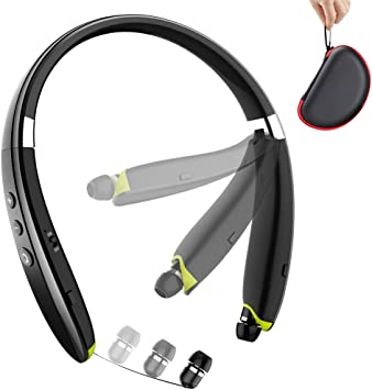 Amazon Com Bluetooth Headphones Beartwo Upgraded Foldable Wireless Neckband Headset With Retractable Earbuds Noise Cancelling Stereo Earphones With Mic For Workout Running Driving With Carry Case Home Audio Theater