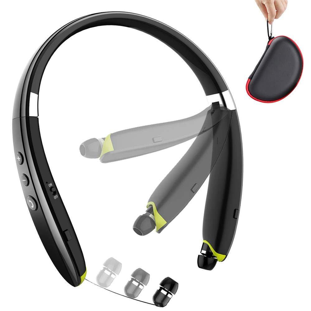 Bluetooth Headphones, BEARTWO Upgraded Foldable Wireless Neckband Headset with Retractable Earbuds, Noise Cancelling Stereo Earphones with Mic for Workout, Running, Driving with Carry Case