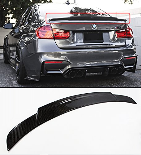 Cuztom Tuning Fits for 2012-2018 BMW F30 3 Series & 2015-2018 F80 M3 High Kick Extended Big Carbon Fiber Trunk Spoiler Wing ()
