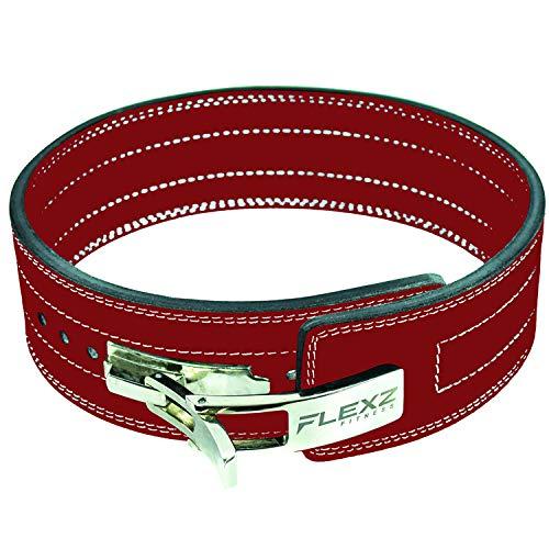 Flexz Fitness Lever Buckle Powerlifting Belt 10mm Weight Lifting Red Medium