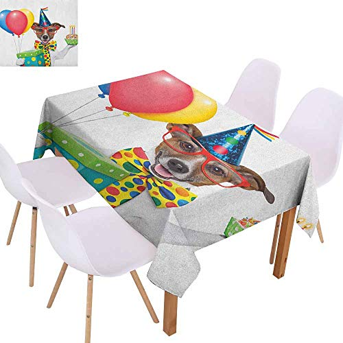 Waterproof Tablecloth Kids Birthday Waiter Server Party Dog with Hat Cone Cupcake Balloons Celebration Boxes Party W52 xL72 Multicolor ()