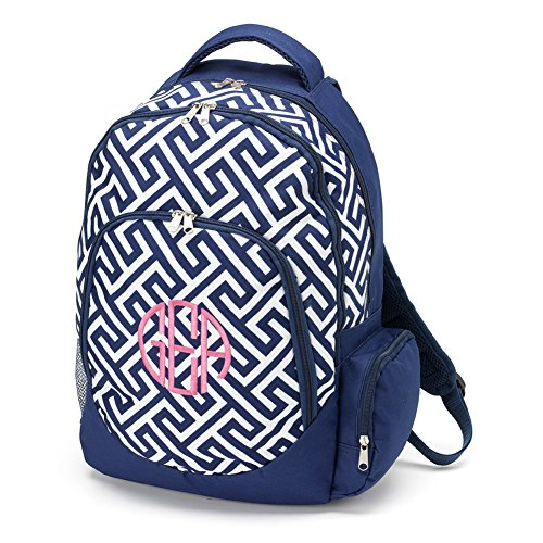 School Backpack Greek Key, Navy (NON-PERSONALIZED) (Personalized Backpacks compare prices)