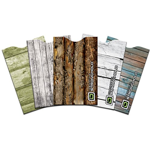 ID Stronghold RFID 5-Pack Secure Sleeves Woodlook Collection RFID Blocking Protective Sleeves - 5 Credit Card Sleeves - Made in the USA