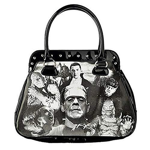 Universal Monsters Purse Bowler Bag Monster Collage Women's Handbag Satchel