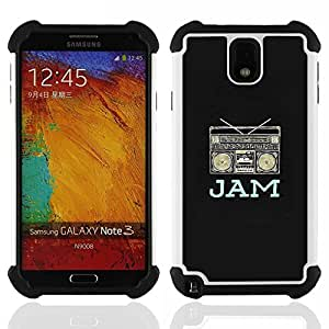 For Samsung Galaxy Note3 N9000 N9008V N9009 - jam boom box music dj black rap speaker Dual Layer caso de Shell HUELGA Impacto pata de cabra con im????genes gr????ficas Steam - Funny Shop -