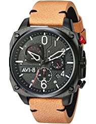 AVI-8 Mens Hawker Hunter Quartz Stainless Steel and Leather Aviator Watch, Color:Brown (Model: AV-4052-02)