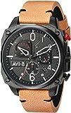 AVI-8 Men's 'Hawker Hunter' Quartz Stainless Steel and Leather Aviator Watch, Color:Brown (Model: AV-4052-02