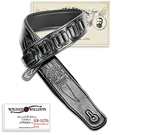 Walker & Williams GM-1176 Black on Black Padded Guitar Strap with Flaming Skulls (Black Leather Padded Guitar Strap)
