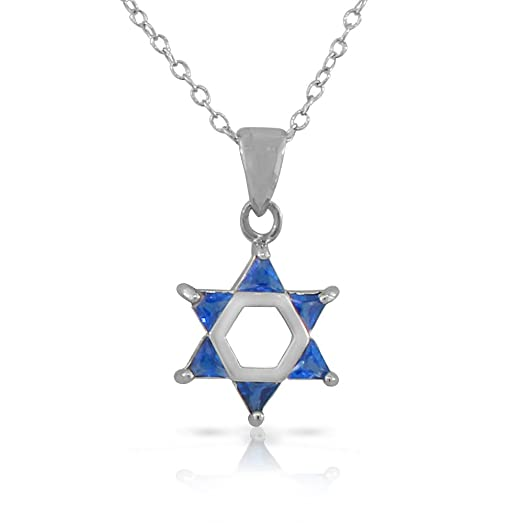 925 Sterling Silver Jewish Star of David Charm Pendant Necklace (Small) (Comes With an 18