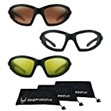 Motorcycle Sunglasses Foam Padded with Anti Reflective Clear Lenses. Free Microfiber Cleaning Case (HD + Clear + Yellow)