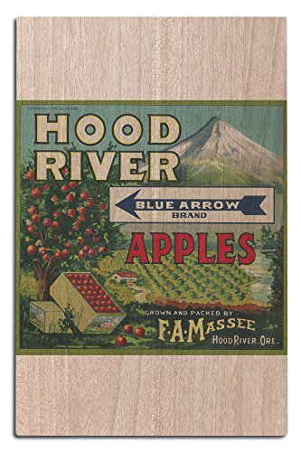 Lantern Press Blue Arrow Apple Crate Label (12x18 Wood Wall Sign, Wall Decor Ready to Hang)