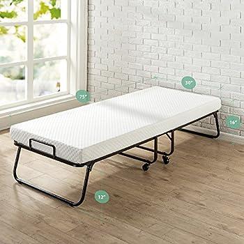 "Zinus Roll Away Folding Guest Bed Frame with 4 Inch Comfort Foam Mattress, Narrow Twin / 30"" x 75"""