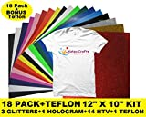 Heat Transfer Vinyl Sheets Easy To Weed 18 Pack+BONUS Teflon BUNDLE ...