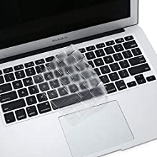 MOSISO Ultra Thin Keyboard Cover Protector Soft TPU Skin Compatible with MacBook Pro 13/15 inch (with/Without Retina Display, 2015 or Older Version) MacBook Air 13 inch(Release 2010-2017), Clear