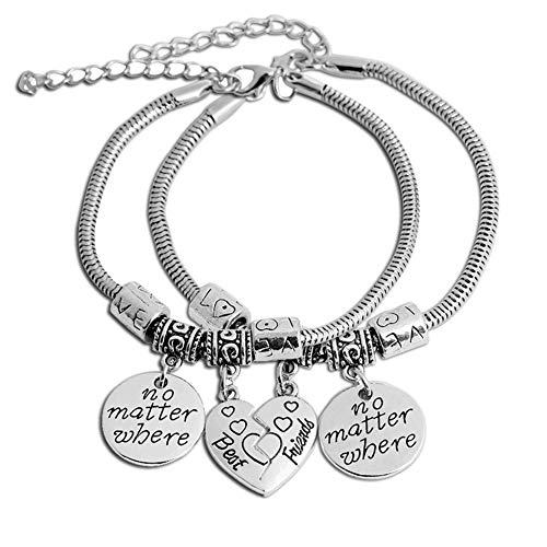 AILUOR 2pcs BBF Best Friends Bracelet, No Matter Where Compass Split Broken Heart Double Bracelets Set Friendship Bangle Gift Jewelry (Silver)