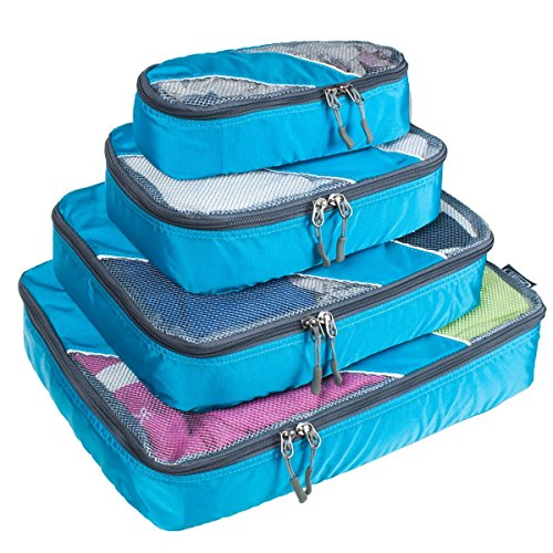 G4Free Packing Cubes 4pcs Value Set for Travel,Helpful Packing Bags(Blue) (Cubes Packing Reviews)