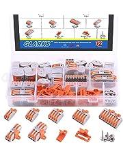 Glarks 108Pcs Buckle and Screw Set, 36Pcs PCT-212, PCT-213, PCT-214, PCT-215, PCT-218, PCT-2-2, PCT-2-3 Compact Wire Connectors with Buckle and Screw for Wires Connecting
