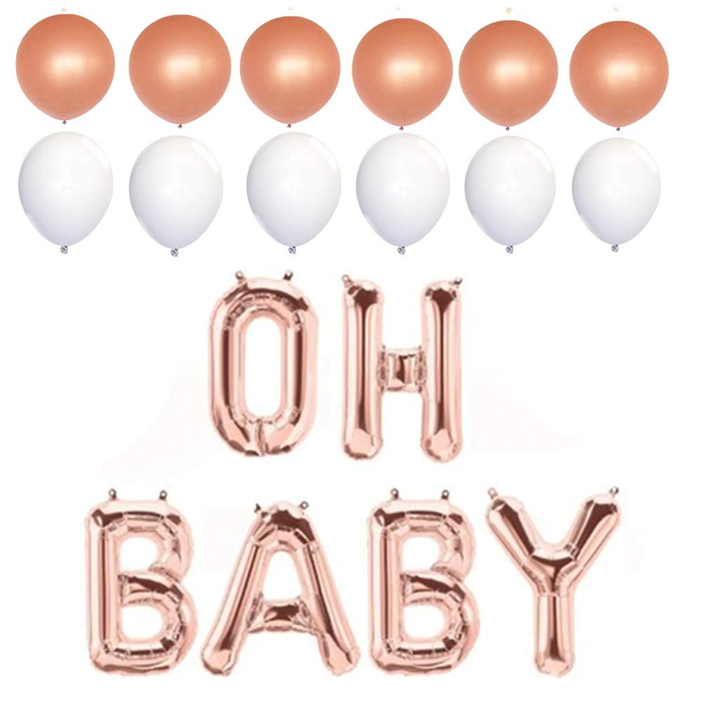 Oh Baby Foil Letter Balloons Hanging Banner With 6 Rose Gold Balloons and 6 White Balloons For Baby Shower, 16'', RoseGold