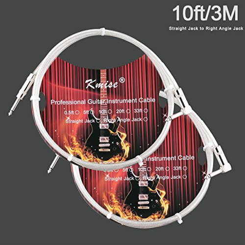 2 Pcs Kmise Guitar Cable Instrument Cord Straight to Right Angle 10ft OFC Braided Low Noise for Electric Guitar