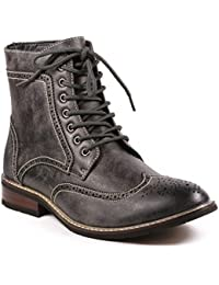 MET525-13 Men's Lace Up Perforated Wing Tip Formal Dress Casual Fashion Boots Run Big