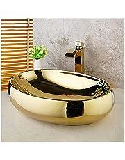 "Bathroom Sink 23.2"" X 16.4""x6"" Oval Countertop Bathroom Vanity Vessel Sink Polished Gold Bathroom Ceramic Basin Sink Vessel Sink"