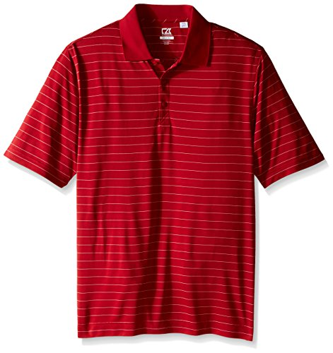 Buck Drytec Polo - Cutter & Buck Men's Big and Tall Cb Drytec Franklin Stripe Polo, Cardinal Red/White, 4X