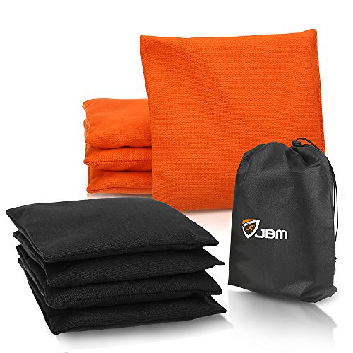 JBM Cornhole Bag (Pack of 8) Weather Resistant Cornhole Bags with Recycled Plastic Pellets for Tossing Corn Hole Game - Free Carrying Bag Included (Orange & Black, 14OZ) ()