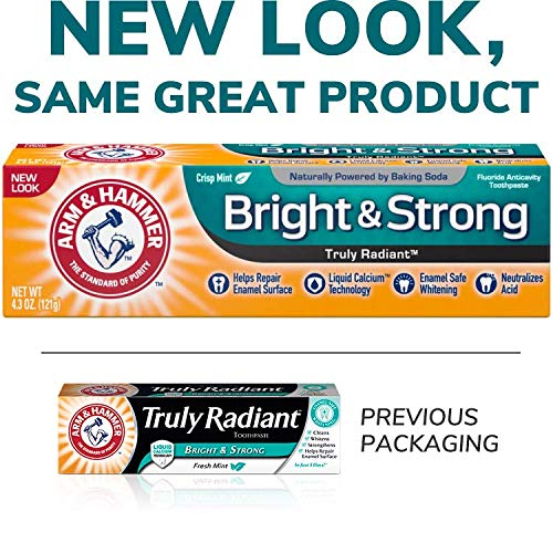 ARM & HAMMER Truly Radiant Bright & Strong Fluoride Anticavity Toothpaste Fresh Mint 4.3 oz ( Packs of 3)