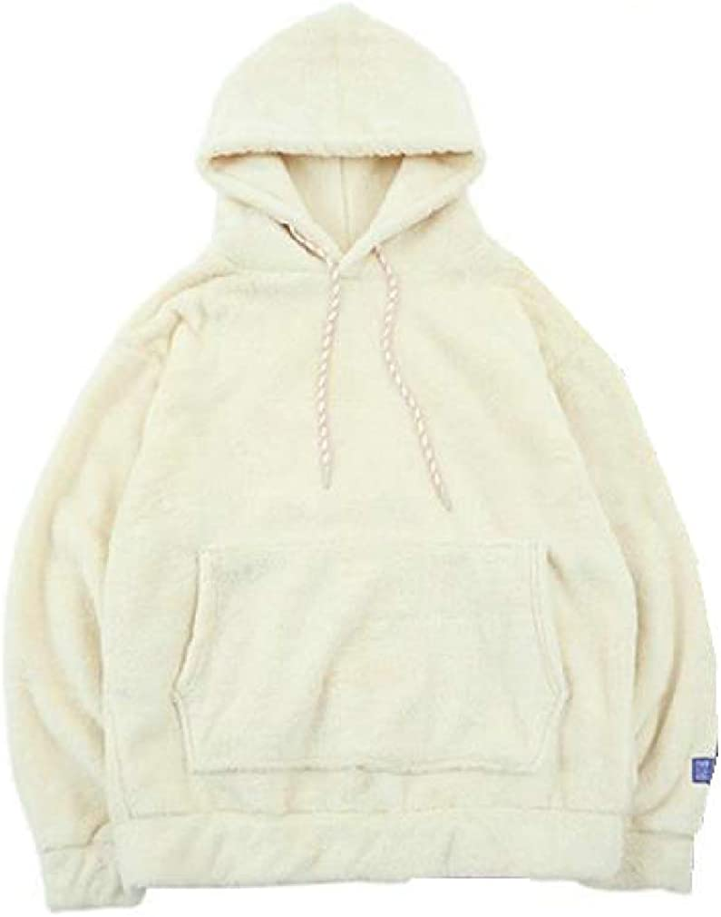 Smallwin Mens Hooded Long Sleeves Hoodie Fluffy Solid Color Pocket Sweatshirts Tie Pullover
