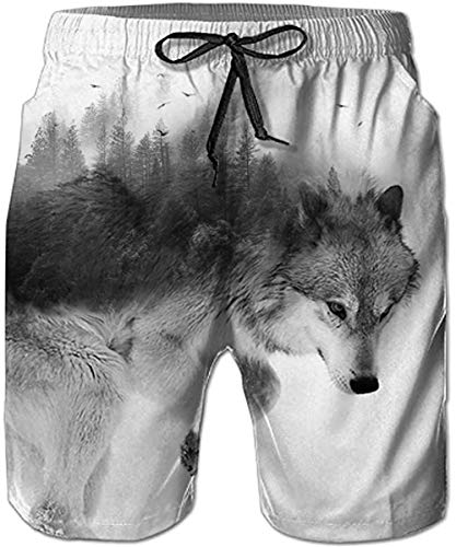 (TUONROAD Unique Animal Print Swimwear Bathing Suit Snow Wolf Forest Trees Trendy Mid Thigh Beach Surf Swim Trunks Awesome Quick Dry Board Shorts for Adult Male Men Toddler Youth Big Boy )