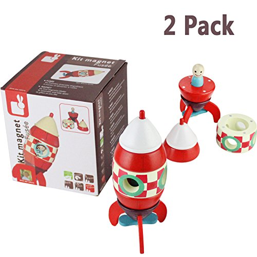 Space Toys Rocket Ship With Astronaut For Kids Toddler, 2 Pcs Wooden Spaceship Magnetic Rocket DIY Assembly For Childs Educational Discovery Space Center Toy Figure Playset, Great Gift For Age 3+ Baby ()