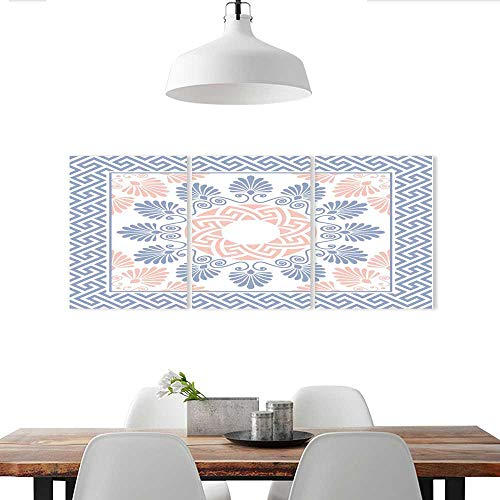 Auraise-home Wall Stickers Traditional Vintage Pink White and Blue Round Floral Greek Ornament Background Wall Stickers
