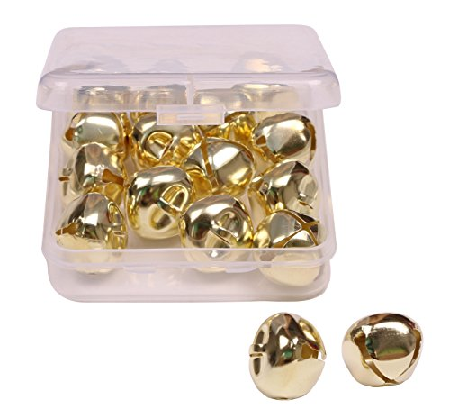 Shapenty 1 Inch/25mm Gold Metal Jumbo Christmas Jingle Bells for Wedding Xmas Tree Decoration Craft DIY Beads Jewelry Findings Charms (Gold, 16PCS/Box)
