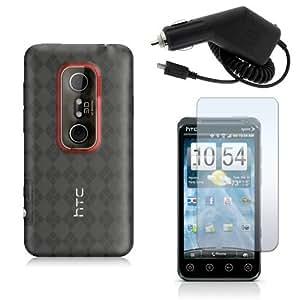 HTC EVO 3D - CLEAR TRANSPARENT CHECKER ARGYLE TPU SKIN CASE + CAR CHARGER + CLEAR SCREEN PROTECTOR