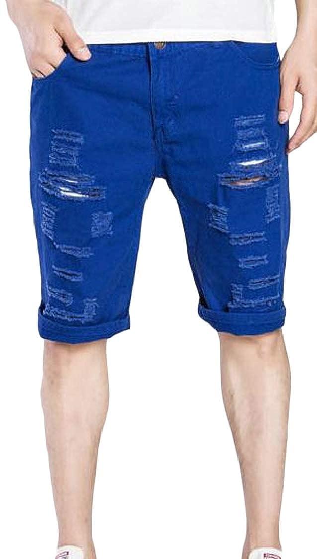 Lutratocro Mens Pocket Crimping Faded Slim Washed Destroyed Denim Shorts