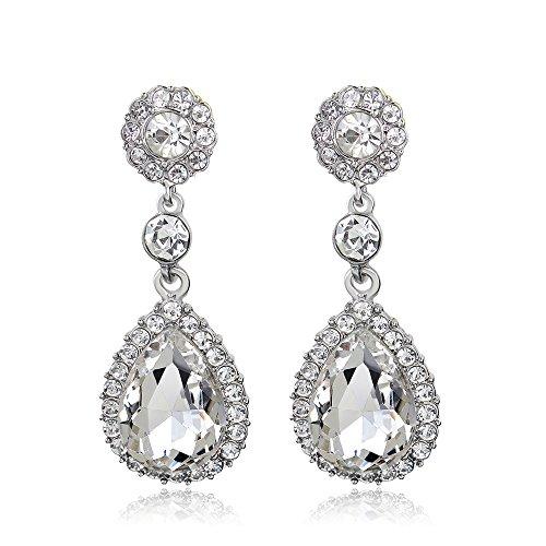 (OMTBEL STOOLY Women Pear Shape Crystal Earrings Dangle Teardrop Rhinestone Earring)