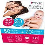 iProven Ovulation Predictor Kit - Ovulation Kit with 50 Ovulation Strips and 20 Pregnancy Tests -...