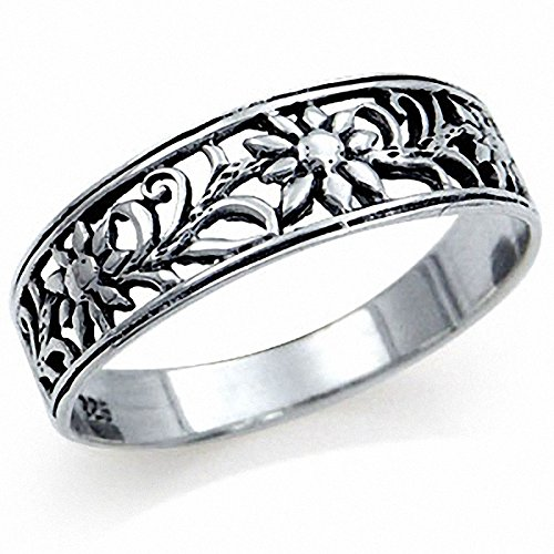 Filigree Flower Band - 925 Sterling Silver FLOWER FILIGREE Band Ring Size 6